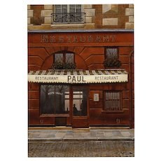 Iconic Paris Restaurant Paul by French Painter André Renoux Unused Artist Signed Vintage Postcard