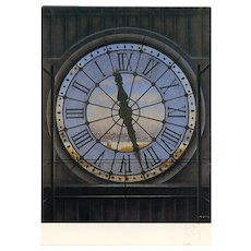 Musee D'Orsay Giant Clock by French Painter André Renoux Unused Artist Signed Vintage Postcard