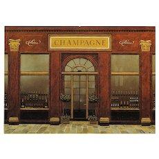 Paris Champagne Shop by André Renoux Unused Artist Signed Vintage Postcard