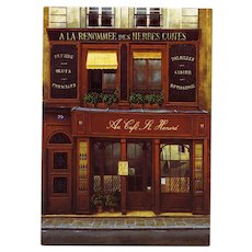 Gourmet Paris Cafe St Honoré by André Renoux Artist Signed Vintage Postcard