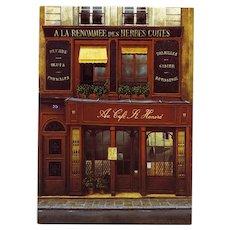 Gourmet Paris Cafe St Honoré by André Renoux Artist Signed Vintage Postcard
