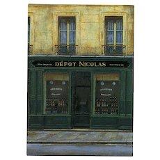 Paris Wine Sellers Shop by André Renoux Unused Vintage Postcard