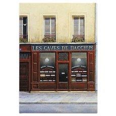 Caves of Bacchus Paris Spirits Shop by André Renoux Unused Vintage Postcard