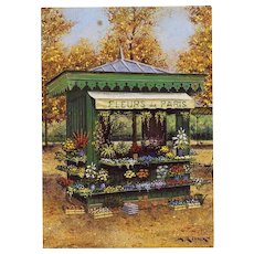 Fleurs de Paris Kiosk by André Renoux Artist Signed Postcard Unused