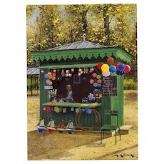 Paris Toy Seller's Kiosk by André Renoux Artist Signed Postcard Franked 1998