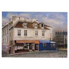 Montmartre Souvenir Shop by André Renoux Artist Signed Vintage Postcard Unused