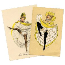 Two French Cancan Dancers in Yellow Unused Postcards