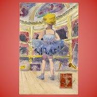 Petite Ballerina at the Paris Opera Original Watercolor Antique French Postcard