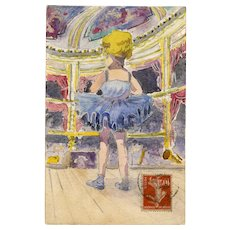 Petite Ballerina at the Paris Opera Original Watercolor Antique French Postcard
