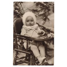Toddler in High Chair Real Photo Vintage French Postcard