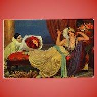 Salon de Paris 1913 Art Postcard Pierrot and Harlequin Courting Lady