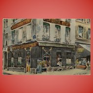1926 Old Cabarets in Paris Series: At the Gold Cross Unused Postcard