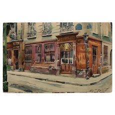 Au Petit Bacchus 1926 Old Cabarets in Paris Series Unused French Postcard
