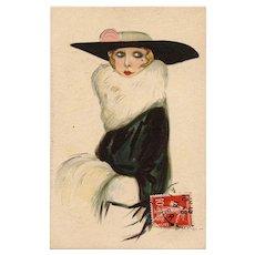 Haute Couture by Italian artist Nanni 1918 Franked European Postcard
