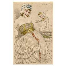 Cupid Buffing Lady's Nails by Mauzan Unused European Postcard