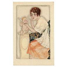 Cupid and Art Deco Lady Mauzan Unused Italian Postcard