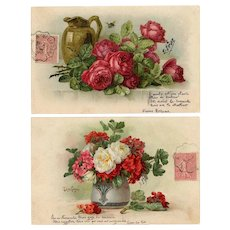 Two Antique French Floral Postcards Bouquet by Paul de Longpre