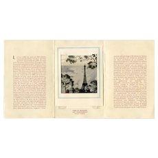 Vintage Eiffel Tower Souvenir Folder with 3-D Pullout