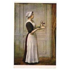 The French Maid Salon de Paris by Jules-Alexis Muenier Chocolate Advertising Postcard