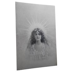 Saintly Lady with Crown of Stars Pre-1904 European Postcard