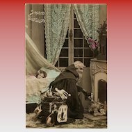 Santa Pausing at the Fireplace Antique Italian Christmas Postcard Real Photo