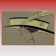 Original Handpainted Postcard of Edwardian Lady in Gargantuan Hat