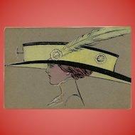 Original Handpainted Postcard of Edwardian Lady in Gargantuan Hat