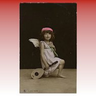 Angel with Mandolin Hand Painted Real Photo Antique German Postcard