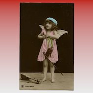 Reverent Angel Child with Mandolin Real Photo Antique European Postcard