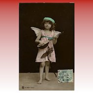 Angel Child with Mandolin Real Photo Antique Postcard Franked 1906