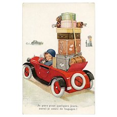 Loads of Luggage for the Little Lady 1936 Illustrated French Postcard Artist Signed