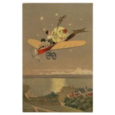 Boys' Moon Journey Rare 1919 European Postcard