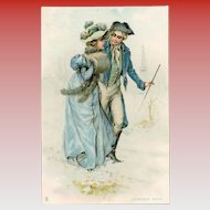 First Snow 18th Century Couple Unused Antique French Advertising Postcard