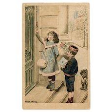 Edwardian Children and Dachshund Deliver Letter 1906 French Postcard Artist Signed