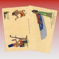 Egyptian Gods Temple Illustrations  Postcards Hand-Dated 1939-40