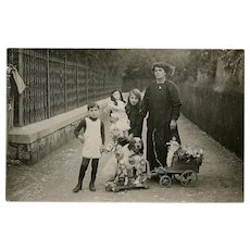 Family Outing in Nice, France, with Dog and Toys Real Photo Edwardian Postcard