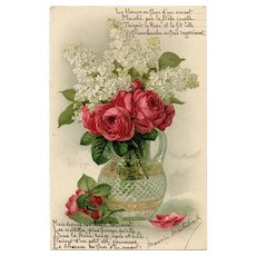 Roses and Lilacs Paul de Longpré Postcard with Poem