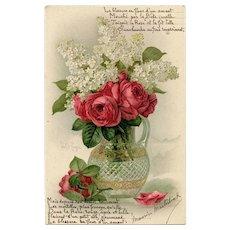 Roses and Lilacs Paul de Longpré Postcard with Poem