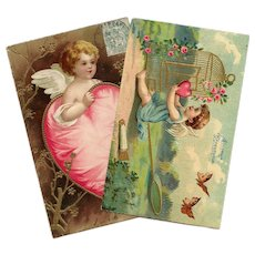 Angels and Hearts Two Antique Embossed French Postcards 1903-1910