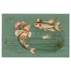 April 1 French Fish Postcard Embossed and Unused Pre-1904