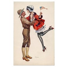 WWI American Soldier and French Sweetheart with US Flag by Chéri Hérouard