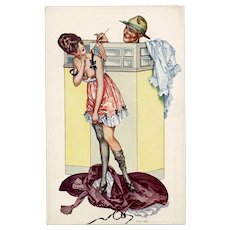 Risque French Postcard by Hérouard: WWI US Soldier and French Woman Disrobing - Red Tag Sale Item