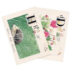 Vintage French Alphabet Series Dahlias and Hedgehog Postcards