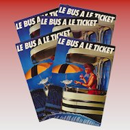 Paris Bus Advertising Campaign Postcard 1982
