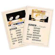 French Verbs Artist Signed Two Vintage Educational Postcards