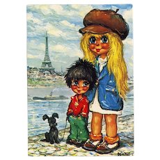 Big Eye Kids near Eiffel Paris Artist Michel Thomas Vintage 1975 Postcard