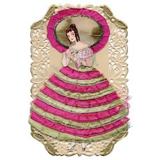 Antique Handmade Christmas Gift: Fashionable Lady in Fabric and Glitter on Celluloïd Card 3-D Pop-Up