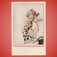 Mauzan's Cupid with Guitar and Spotted Dog Italian Postcard