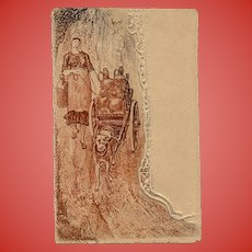 Leather and Paper Embossed Postcard Working Dog Pulling Milk Wagon