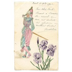 Hand-painted Harlequin and Irises Happy New Year 1902 Postcard Gift
